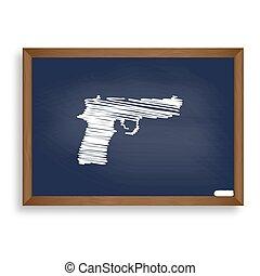azul, escuela, Ilustración, arma de fuego, señal, Tiza,...