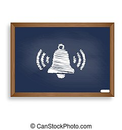 Ringing bell icon. White chalk icon on blue school board...