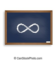 Limitless symbol illustration. White chalk icon on blue school b