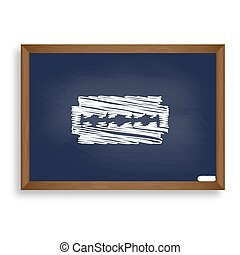 Razor blade sign. White chalk icon on blue school board with...
