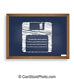 Floppy disk sign. White chalk icon on blue school board with...
