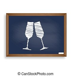 Sparkling champagne glasses. White chalk icon on blue school boa