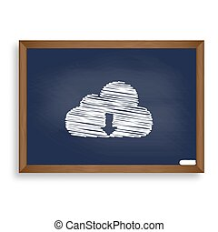 Cloud technology sign. White chalk icon on blue school board wit