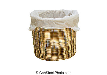 Empty wicker basket with plastic bag isolated on white