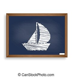 Sail Boat sign. White chalk icon on blue school board with...