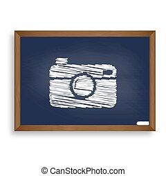 Digital photo camera sign. White chalk icon on blue school...