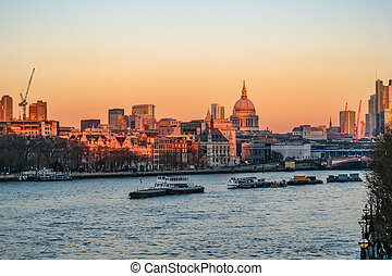 Sunset view of the London skyline taken from Waterloo...