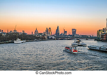 Sunset view from Waterloo Bridge, London. - Taken at sunset...