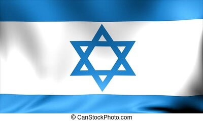 Realistic 3d seamless looping Israel flag waving in the...