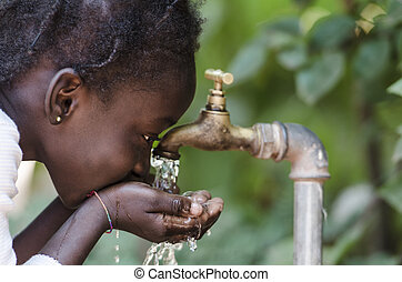 Clean Fresh Water Scarcity Symbol: Black Girl Drinking from...