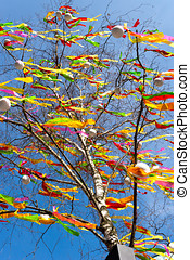 Traditional Czech easter decoration - decorated birch tree...