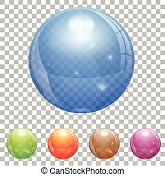 Transparent Glass Ball - 3D Glass Marble Ball in Different...