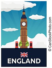 Travel poster to England. Big Ban. Vector flat illustration....