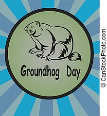 vector illustration Groundhog . Groundhog Day