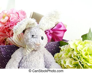 rabbit doll and gift box easter day decoration