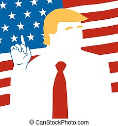 President of USA - President and USA flag background vector...