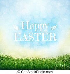 Happy Easter Card With Grass