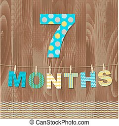 Card 7 Months, With Gradient Mesh, Vector Illustration