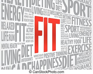 FIT word cloud background, health concept
