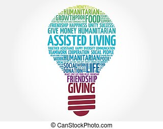 Assisted Living bulb word cloud collage concept