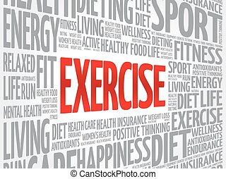 EXERCISE word cloud, fitness