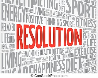 RESOLUTION word cloud, fitness, sport, health concept