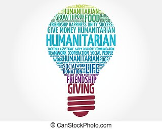 Humanitarian bulb word cloud collage concept