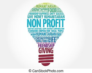 Non Profit bulb word cloud collage concept