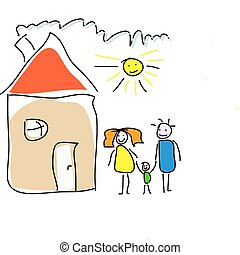 Childs drawing of a family house - Childs drawing of a happy...