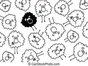 Many white and a black sheep - Background with white and...