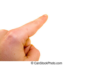 Poing finger on white background - Poing finger on a white...