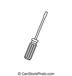 contour line monochrome with screwdriver vector illustration