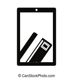 monochrome tablet with display with credit card in hand...