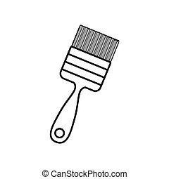 contour line monochrome with paint-brush vector illustration