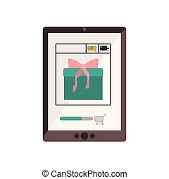 tablet with gift in shopping cart vector illustration