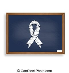 Black awareness ribbon sign. White chalk icon on blue school boa