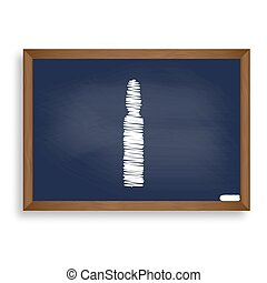 Medical ampoule sign. White chalk icon on blue school board...