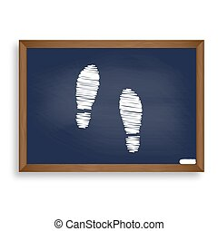 Imprint soles shoes sign. White chalk icon on blue school...