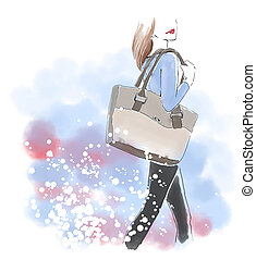 Watercolor woman with hand bag, fashion illustration -...