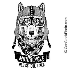 Wild WOLF for motorcycle, biker t-shirt Hand drawn image