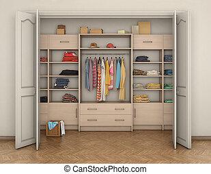 empty room interior and big closet with clothes; 3d...