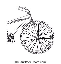 silhouette medium part bicycle with pedals in closeup vector...