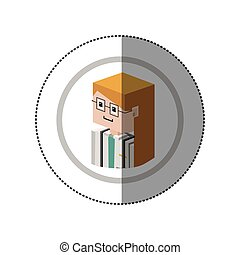 sticker lego with portrait female doctor with glasses vector...