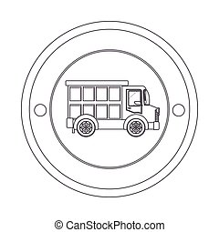 circular contour of silhouette with dump truck