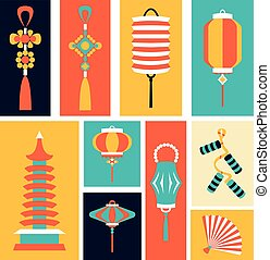 Vector illustration of Chinese Symbols and objects