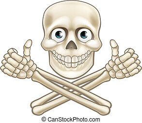 Skull and Crossbones Giving Thumbs Up - A cartoon Halloween...