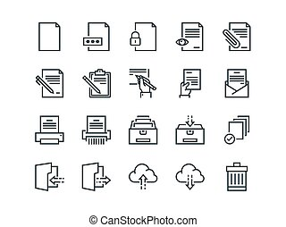 Document. Set of outline vector icons. Includes such as Printer, Shredder, Folder, Archive, Handwriting and more.