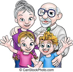 Grandparents and Children - Family scene of children and...