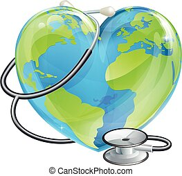 Heart Globe Stethoscope Earth World Health Concept -...