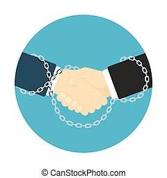 chained handshake icon - flat style handshake icon, picture...